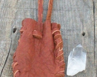 Leather medicine bag ,  Crystal bag ,  Buckskin medicine bag ,  Neck strap bag ,  Medicine pouch