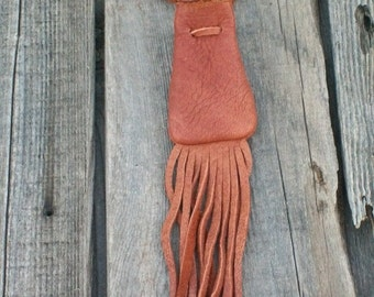Fringed leather neck bag, Leather amulet bag, Crystal bag, Drawstring necklace bag, Buckskin leather neck pouch, Fringed medicine bag