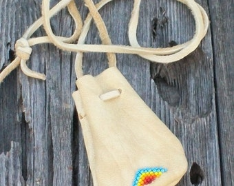 Beaded buckskin bag , Leather medicine pouch , Crystal bag , Talisman bag