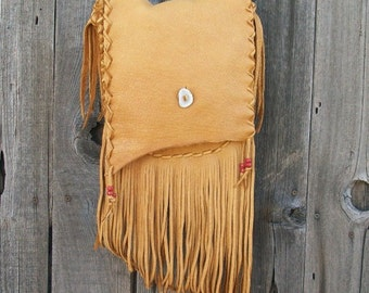 Fringed leather handbag ,  Handmade leather purse , Leather crossbody handbag , Leather handbag