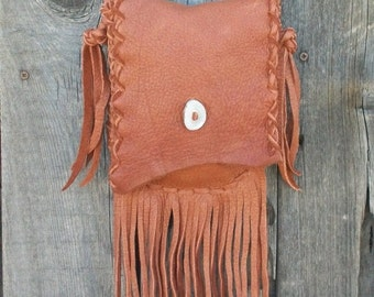 Fringed leather purse ,  Handmade leather handbag , Small shoulder bag , Soft leather bag