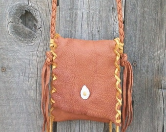Handmade leather handbag , Crossbody leather purse ,  Buckskin Shoulder bag ,  Buckskin phone bag