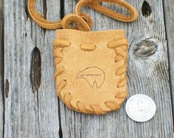 Bear totem medicine bag ,  Leather medicine bag with bear totem ,  Leather neck pouch , Necklace bag