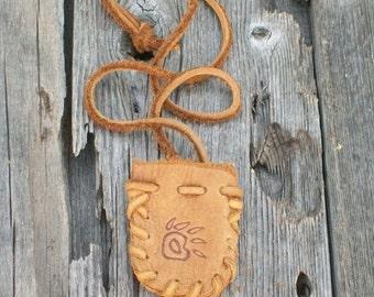 Medicine bag with bear paw totem , Leather neck bag , Leather amulet bag, necklace bag