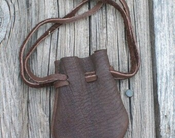 Small leather pouch ,  Leather drawstring pouch ,  Buckskin leather bag