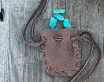 Medicine bag ,  Leather medicine bag ,  Handmade buckskin pouch ,  Drawstring medicine bag , Amulet bag