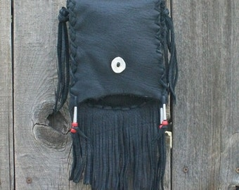Fringed leather purse ,  Black leather handbag ,  Leather crossbody bag ,  Leather shoulder bag
