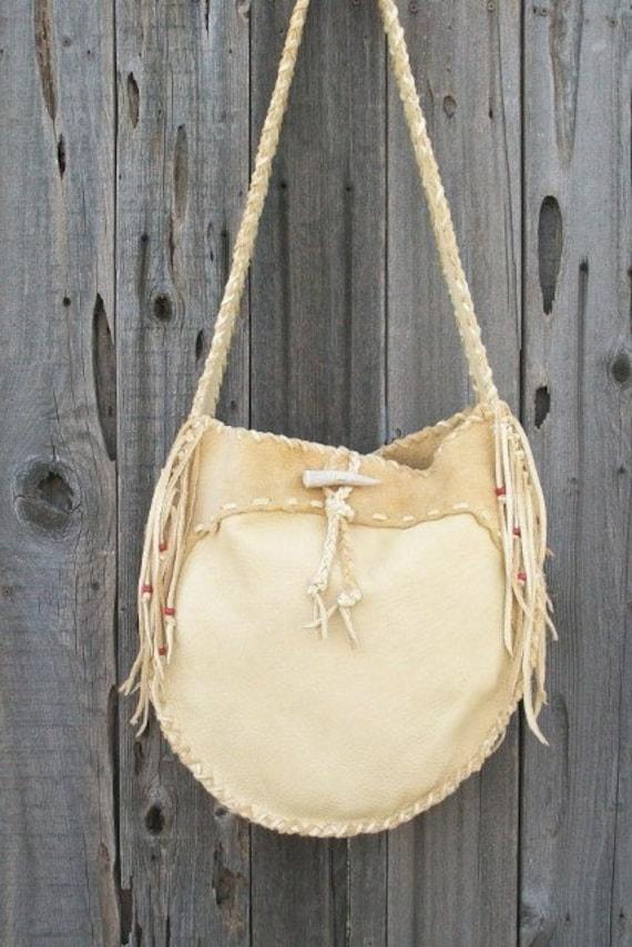 Leather drum bag ,   Buckskin leather crossbody bag ,    Handmade leather tote ,  Gypsy  handbag , Leather handbag