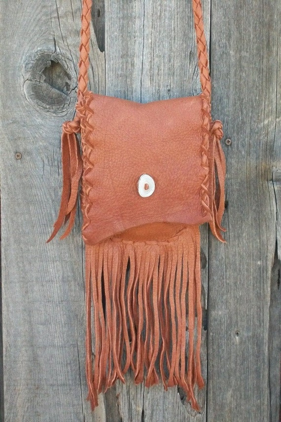 Fringed leather purse ,  Buckskin leather handbag , Small shoulder bag ,  Buckskin leather bag
