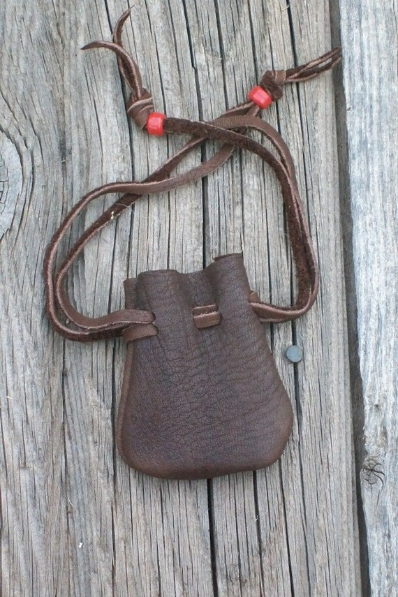 Small leather pouch Leather drawstring pouch Buckskin
