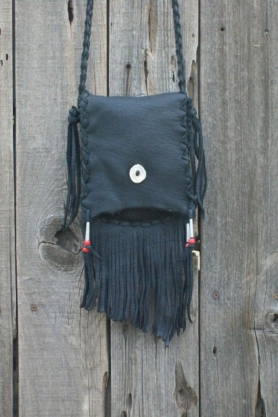 Fringed leather purse ,  Black leather handbag ,  Leather crossbody bag ,  Leather shoulder bag