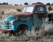 Old Blue Chevy Pickup - vintage memorabilia Rusty turquoise blue Chevrolet farm Truck in New Mexico field - giclee photograph 8x12