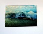 Ocean Sea - Big Crashing Waves Flying Birds - Beach Landscape - 8x12 Fine Art Giclee Print - Home Decor