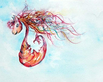 Whimsical Seahorse Fantasy art - Cherry Pink neon Orange slice Seahorse - Sea-pony - Original Watercolor - Childrens Playroom Deco Baby Girl