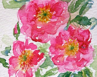 wild pink love roses watercolor - 8x10 giclee watercolour print - home decor fine art