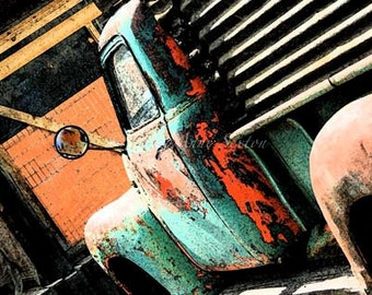 Old Hippie Truck Art - Antique Cockeyed Chevy Fine Art Home Decor  Fine Art Giclee photograph 8x12
