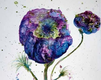 Purple Wild Fantasy Flower of Blue Poppy - 8x10 art giclee