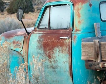 Oversized Old Chevy Pickup Teal Frosty Morn Chevrolet Big Hugh Art Photography PRINT 30x40 - Antique Aqua Pickup - Turquoise Blue Farm Truck