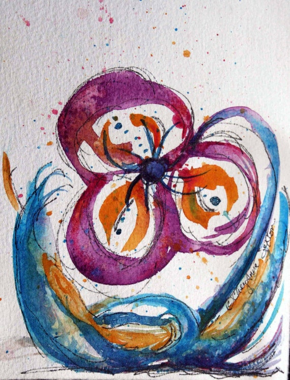 Purple  Orange Blue Peace Flower - Ink and Watercolor - Wall Decor  5x7