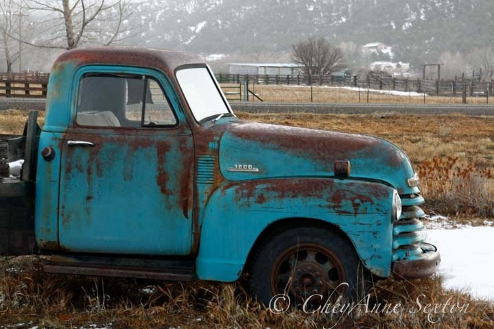 Items similar to Old Chevy Winter Truck Art - Old Blue ...