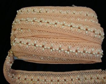 10 yards Peach crocheted with natural color beaded trim  ( 95 cent per yard )