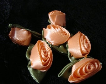 """24 pieces 1"""" Peach satin Ribbon Roses With Green Leaves wedding wedding favors and craft art work"""