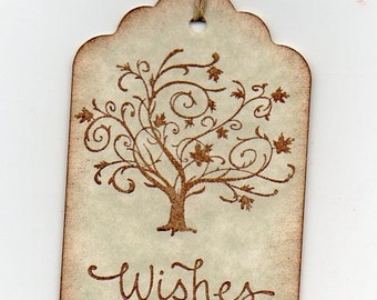 100 Rustic Wedding Wish Tags,  Fall Tree Wedding Wish Tags - Elegant Tree Wishes For Wishing Tree Hang Tags Labels - Vintage Style