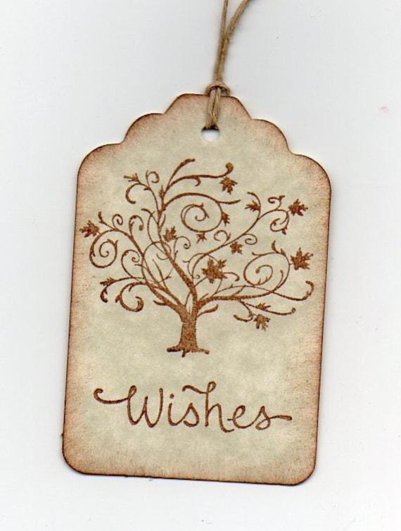 50 Rustic Wedding Wish Tree Elegant Autumn Fall Tree Wish Tags, Escort Cards, Wedding Tags, Alternative Guest Book -  Vintage Style