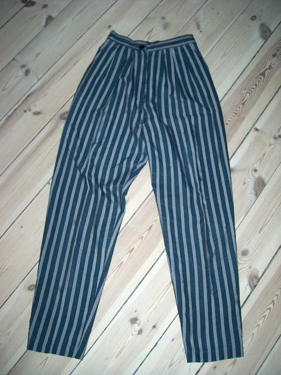 EXTRA REDUCED - 80s high waist striped cotton summer pants