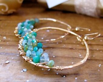 Peruvian Opal Earrings - Caribbean Water Hoops - 14K Gold Filled Handmade Hoop Earrings - Peruvian Opal Jewelry - Blue Green Earrings