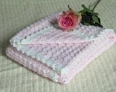 Hand crocheted baby blanket, baby girl blanket, pink baby blanket