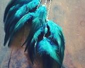 Aqua Feather Ear Cuff, Feather Ear Cuff, Statement Earring, Bold Jewelry, Festival Jewelry