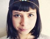 Valentine's Day Headpiece, Beaded Headpiece, Chain Headpiece, Boho Headchain, Turquoise Jewelry