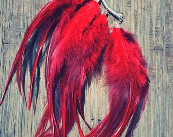 Wild Child Red Feather Ear Cuff