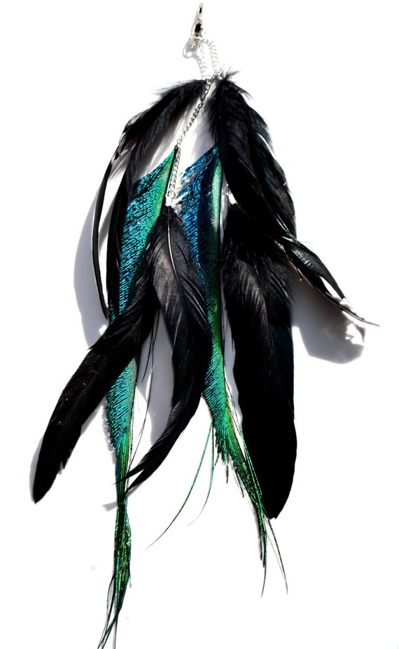 Iridescent Peacock Feather Hair Clip