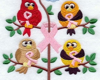 Breast Cancer Awareness Birds in a Tree Embroidered White Towel or Quilt Block Square