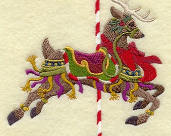 Christmas Carousel Reindeer Embroidered on WHITE Towel or Quilt Block Square