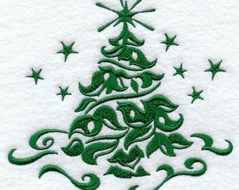 Damask Christmas Tree Embroidered on 100% Cotton Kitchen Towel