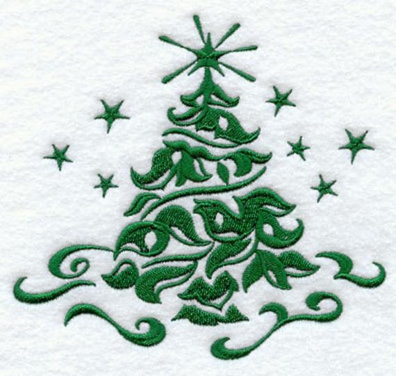 Items Similar To Damask Christmas Tree Embroidered On 100