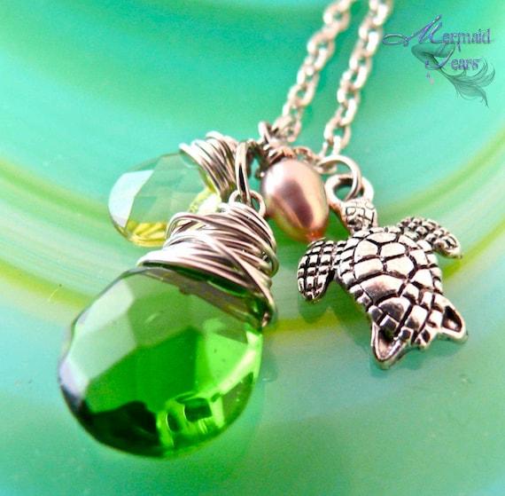 Sea Turtle Necklace - Hawaiian Honu Jewelry by Mermaid Tears Hawaii - Sea Turtle Jewelry from Hawaii - Hawaiian Jewelry - Hawaii Necklace