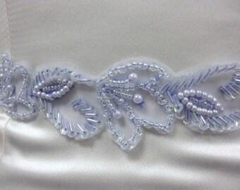 Wedding Belt Sash, Beaded Organza Bridal Sash, Periwinkle Hair Headband, Hair Accessory