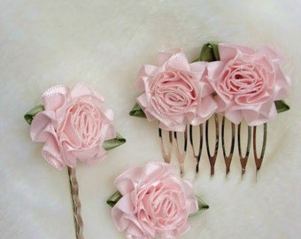 Pink Bridal Haircomb, Satin Flower Bridal Hair Comb, Hair Pin Set, Bridal Hair Accessory, Flowergirl Hair Accessory, Decorative Combs