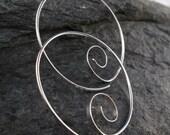 thick wire STERLING  HOOP earrings . 18 gauge  spiral hoop earring .18g  large hoop .  nickel free No.00E263
