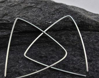 TRIANGLE EARRINGS. sterling silver hoop.  hoop earrings. MEDIUM geometric.  nickel free wire.  Art Deco. lightweight No.00E256