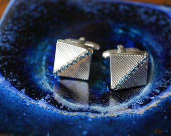 Vintage Hickok Silver Etched Blue Rhinestone Cuff Links - Mid Century