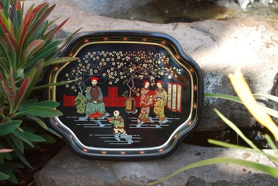 Vintage Mid Century Oriental Theme Elite Individual Cocktail Trays Made in England - Set of 6