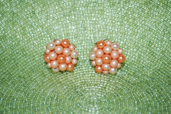 RESERVED FOR JENN  Vintage Apricot and Melon Beaded Pearl Cluster Earrings Japan - 1950's - Wedding and Bridal Fashion