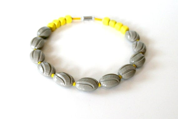 "Cheerful Retro Grey and Yellow Necklace / Vintage Gray Lucite and Neon Yellow Wooden Cubes / ""PLEASE WAKE UP"""