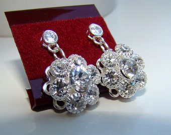 Bridal CZ Earrings FLOWER Silver Rhinestones