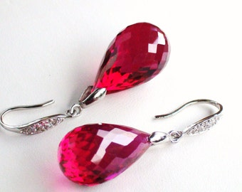Luxury Red Topaz Stone Sterling Earrings Passion
